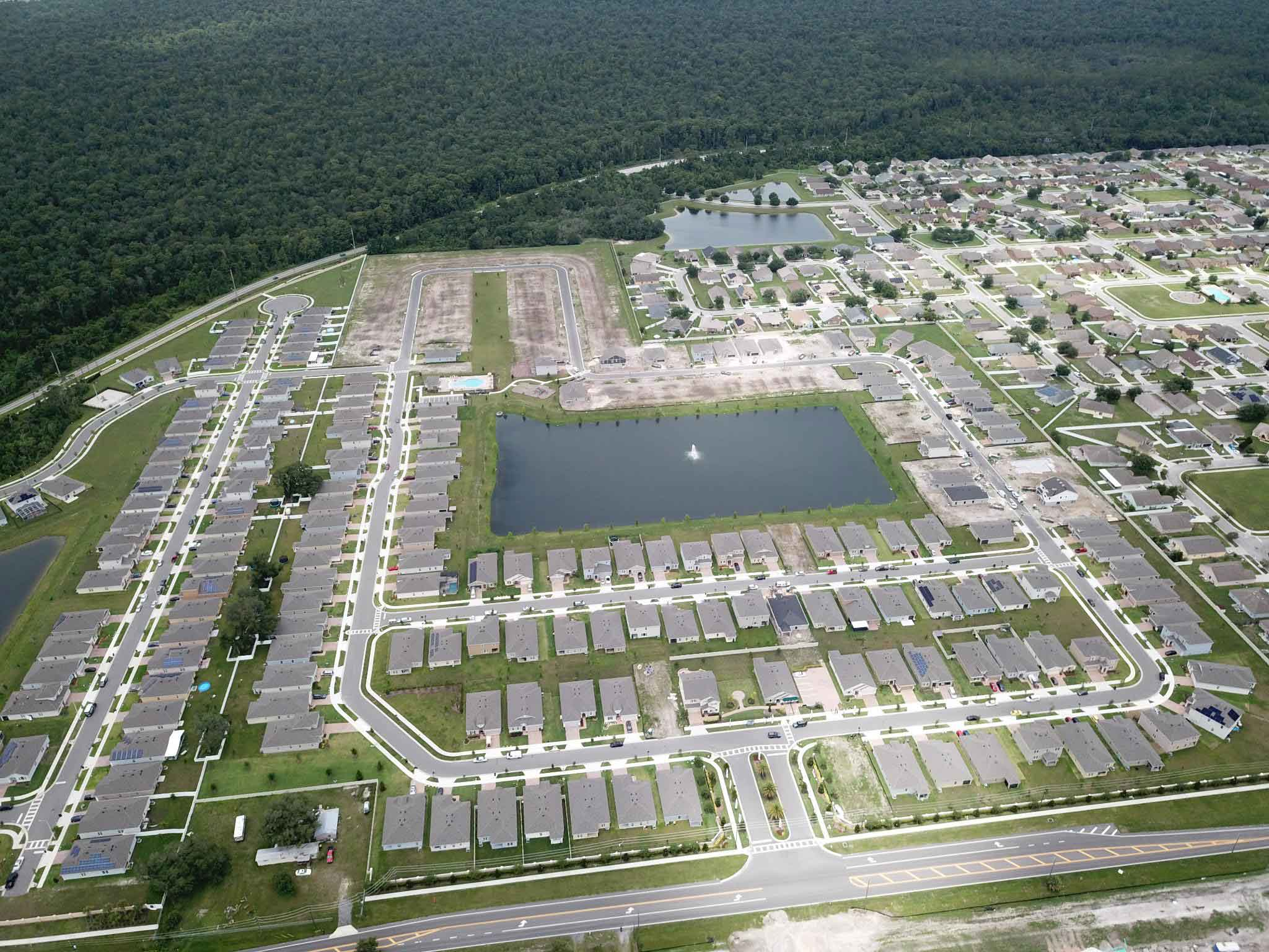 Aerial view of Evergreen Estates